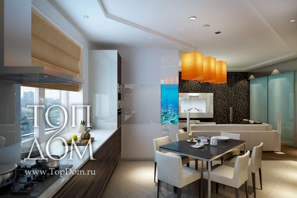 Дизайн столовой-кухни 12 кв.м